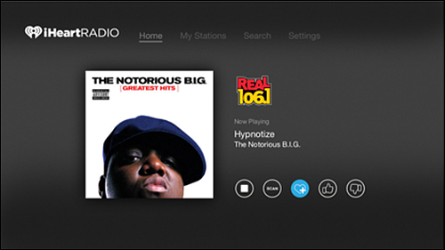 iHeartRadio with favorited station.