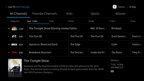 The Live TV guide.