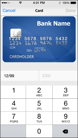 XFINITY My Account app Card screen displays card information and fields for expiration date and CVV.