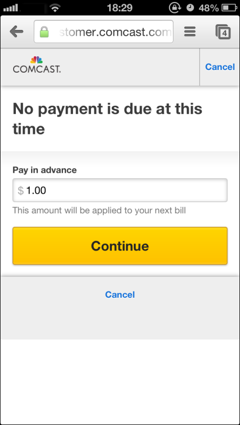 Payment amount window has field for desired payment amount. Yellow Continue button in center.