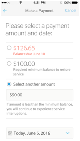 Make a payment screen with several amount options; the amount needed to restore service is indicated in red.