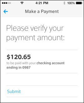 XFINITY My Account app Make a Payment screen asks user to verify payment amount.