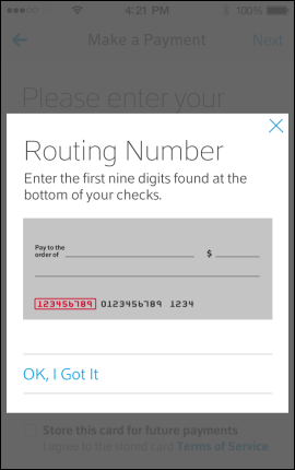 Screen displays help for finding routing number.
