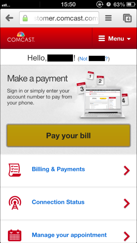 Mobile Make a payment window. Yellow Pay your bill button is center screen.