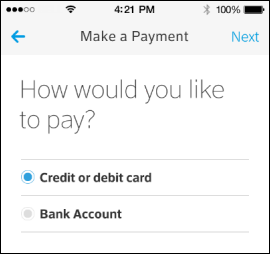 XFINITY My Account app Make a Payment screen asks user to select a payment method.