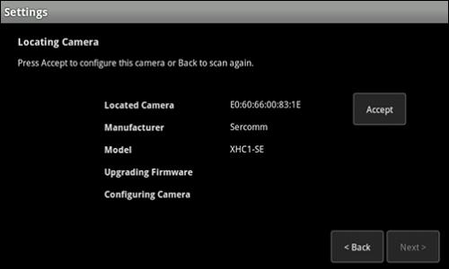 Touch Screen Settings screen has Accept button to configure Camera.