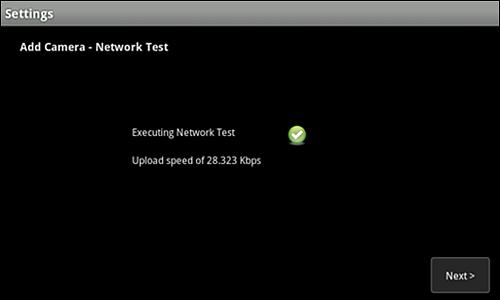 Add Camera - Network Test screen.