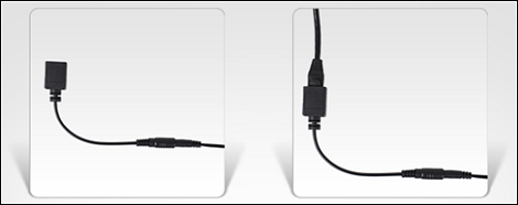 Ethernet cable being connected to black adapter cable.