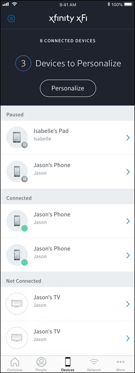 Connected Devices and Devices to Personalize screen