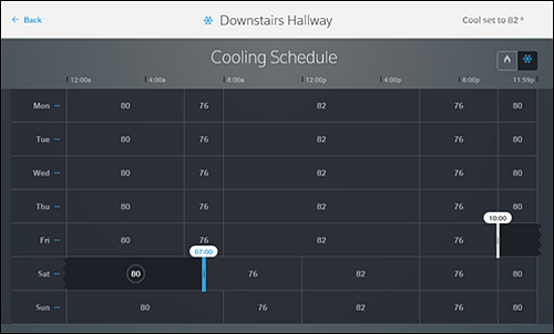 Cooling Schedule with start-time set to 07:00 AM and end-date set to 10:00 PM.