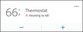 The thermostat screen has three options to choose from; plus, minus, and details.