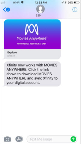 Movies Anywhere text message.