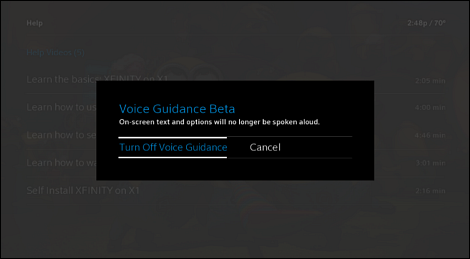 X1 Guide: Voice Guidance screen with Turn Off Voice Guidance selected.