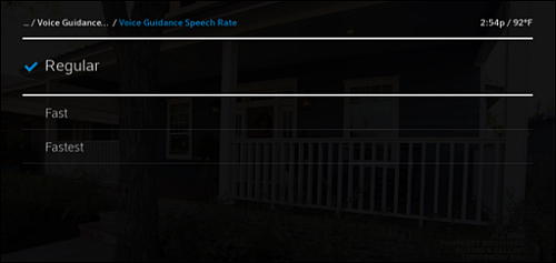 Voice Guidance Speech Rate screen with Regular, Fast and Fastest speeds.