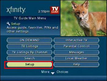 Main Menu, Setup option is highlighted.