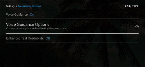 Accessibility Settings screen - Voice Guidance Options is highlighted.