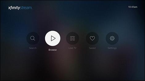 XFINITY Stream Beta app on Roku - home screen.