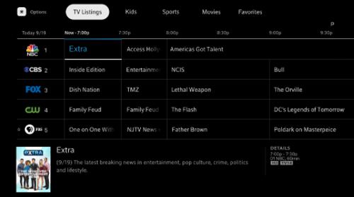 TV Listings screen