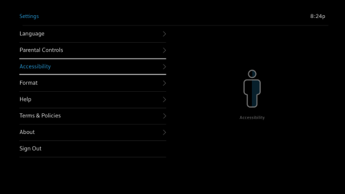Settings page with Accessibility option selected.