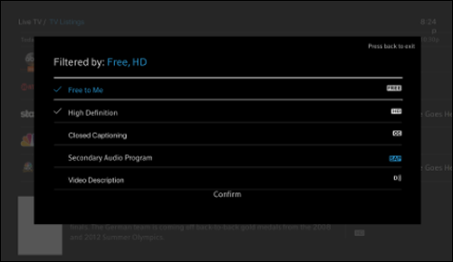 Options screen with Free to Me and High Definition selected.
