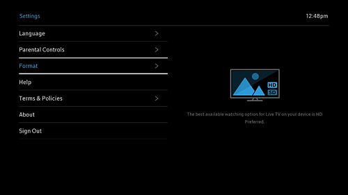 Settings screen with Format option selected.