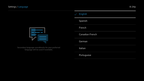 Settings > Language page with English highlighted.