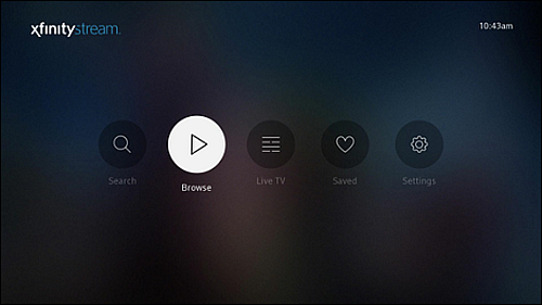 XFINITY Stream Beta app on Roku devices main menu.