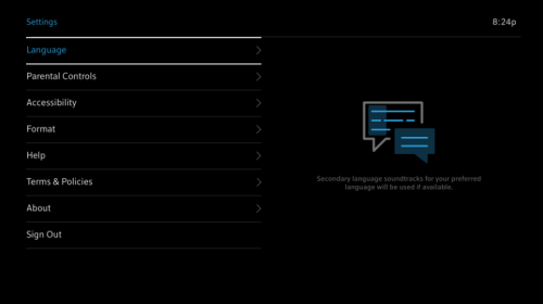 Settings page with Language highlighted.