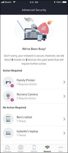 Advanced Security Dashboard screen