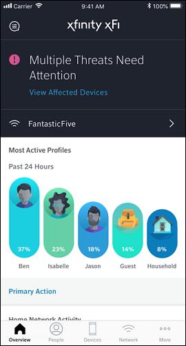 Security Status on the xfinity xfi app