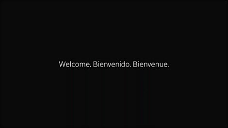 You'll see the welcome message when powering on the first time.