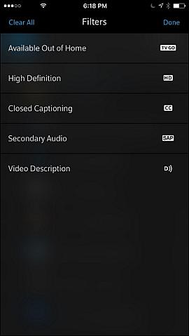 Filters screen.