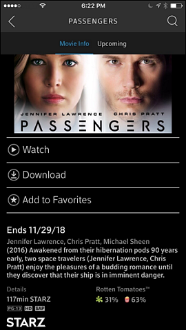 Movie Info tab selected.