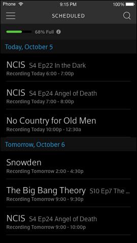 Scheduled screen.