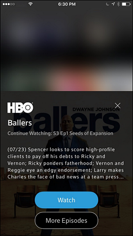 Program information screen. Watch button and More Episodes button at bottom.