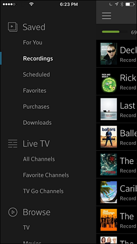 Saved screen with Recordings tab selected.