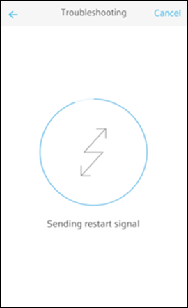 Troubleshooting screen with messaging: