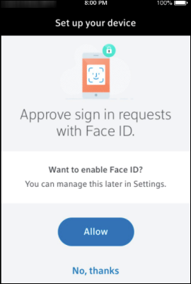 Xfinity Authenticator App face ID approval screen