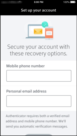 Xfinity Authenticator App Recovery Options screen