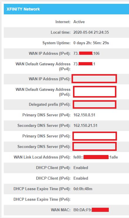 Screenshot of Modem Network Information