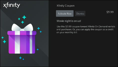 Xfinity Coupon with the option to Activate Now