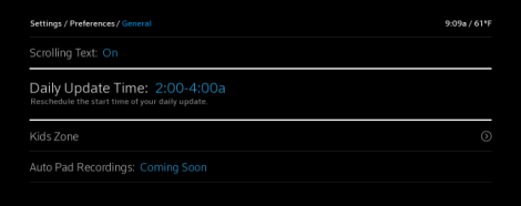 Find the daily update time under the general tab