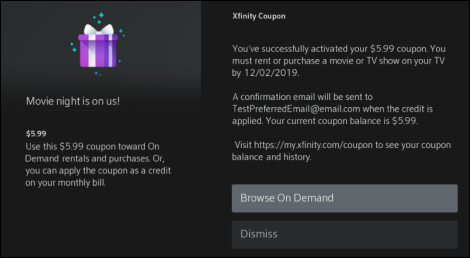 Activation message for Xfinity Coupon