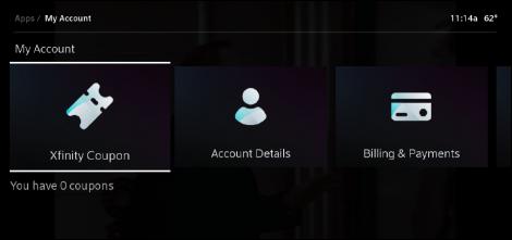 X1 My Account Xfinity Coupon option