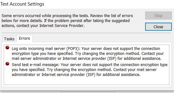 Outlook test email message failure