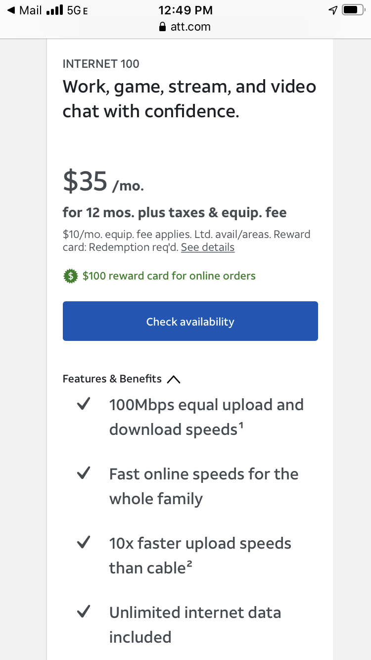 AT&T Wireless Internet 100Gb Plan is Where on this Website ...