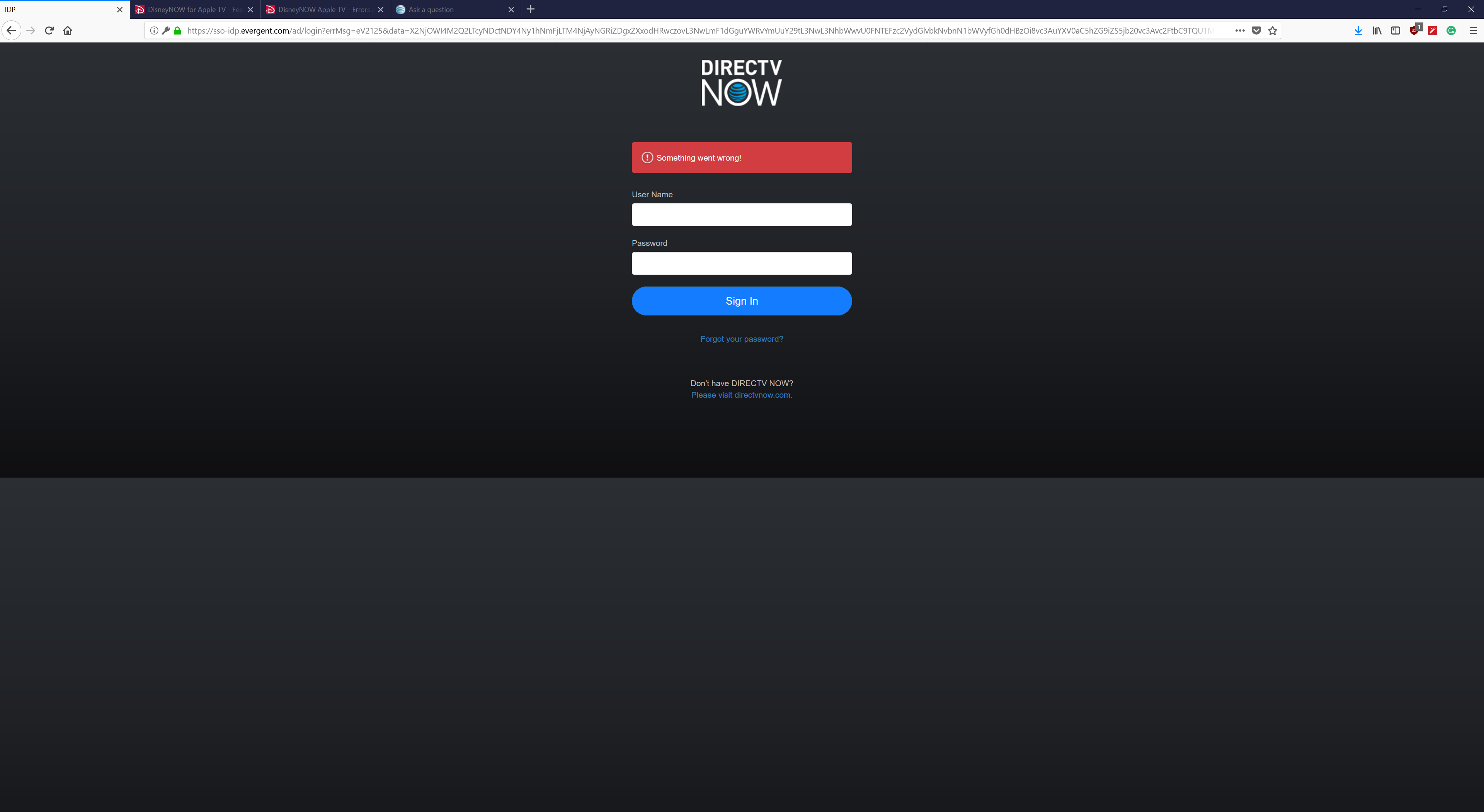 Disneynow Login Not Working With Directvnow On Ios Devices At T Community Forums