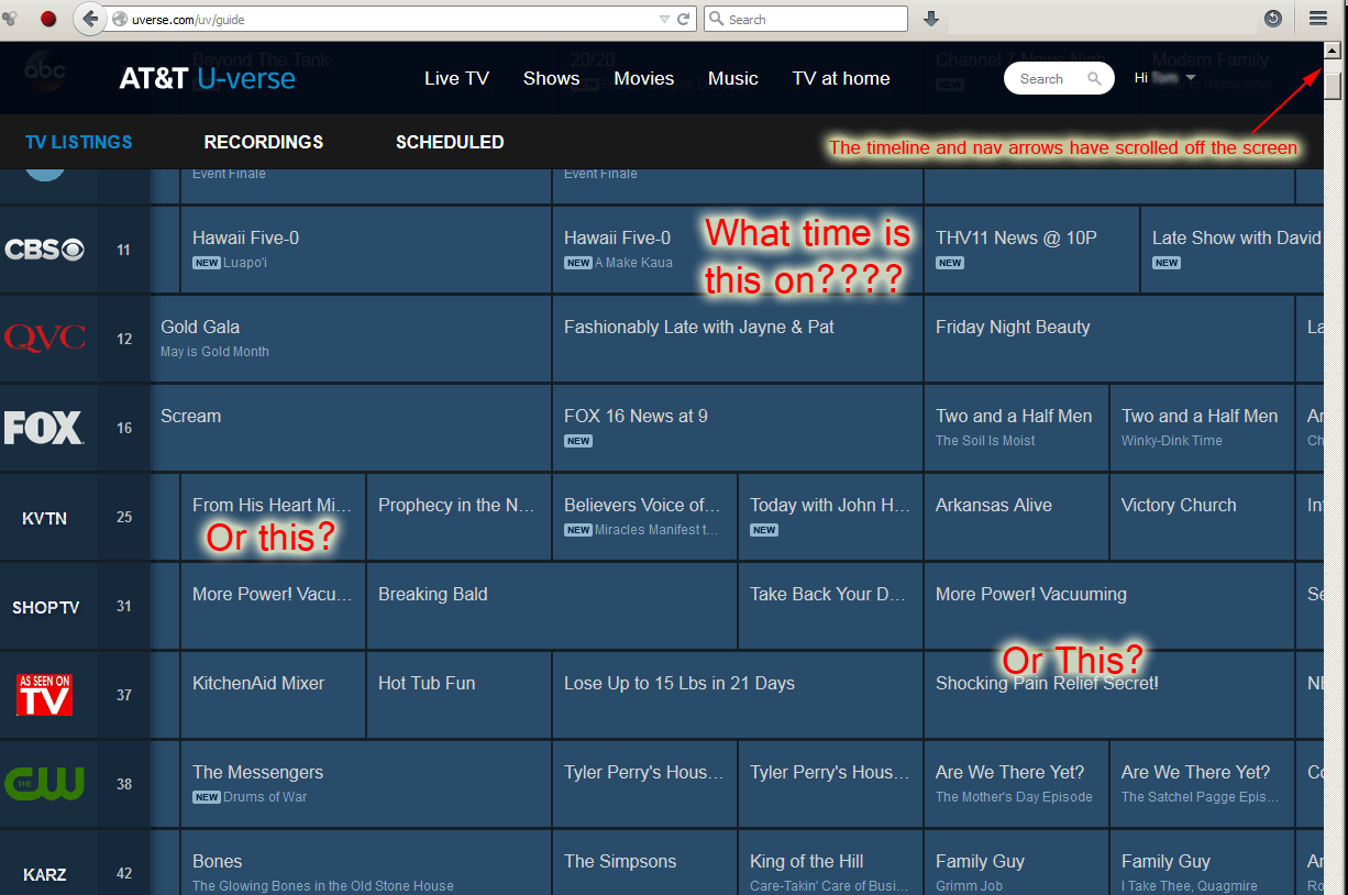 The online program listings now officially useless for any ...